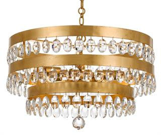 Crystorama Antique Gold 5 Light Perla Chandelier 6106-GA