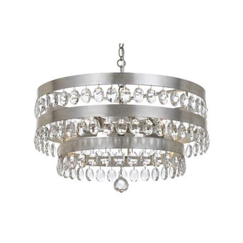 Crystorama Antique Silver 5 Light Perla Chandelier 6106-SA