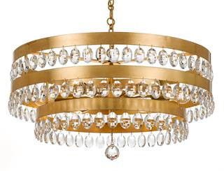 Crystorama Antique Gold 6 Light Perla Chandelier 6108-GA