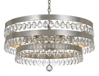 Crystorama Antique Silver 6 Light Perla Chandelier 6108-SA