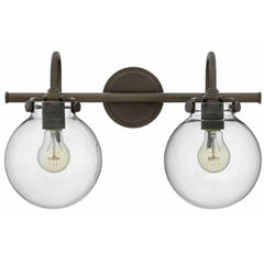 Congress 2 Light Globe Vanity in Oil Rubbed Bronze with Clear Glass Shades by Hinkley Lighting 50024OZ