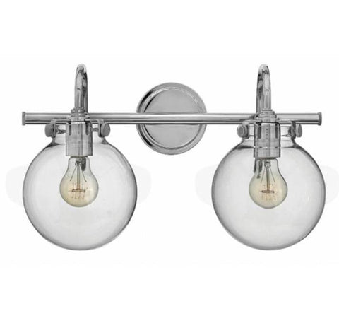 Congress 2 Light Globe Vanity in Chrome with Clear Glass Shades by Hinkley Lighting 50024CM