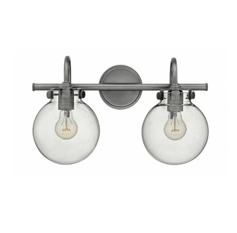 Congress 2 Light Globe Vanity in Antique Nickel with Clear Glass Shades by Hinkley Lighting 50024AN