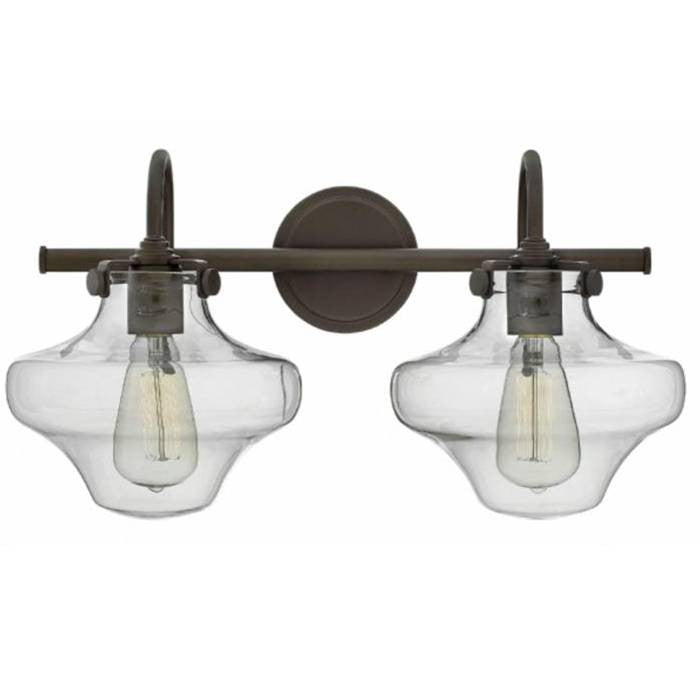 Congress 2 Light Hurricane Vanity in Oil Rubbed Bronze with Clear Glass Shades by Hinkley Lighting 50021OZ