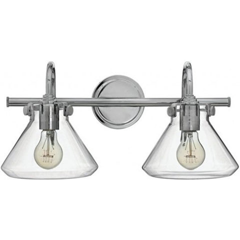 Congress 2 Light Retro Vanity in Chrome with Clear Glass Shades by Hinkley Lighting 50026CM