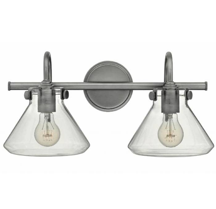 Congress 2 Light Retro Vanity in Antique Nickel with Clear Glass Shades by Hinkley Lighting 50026AN