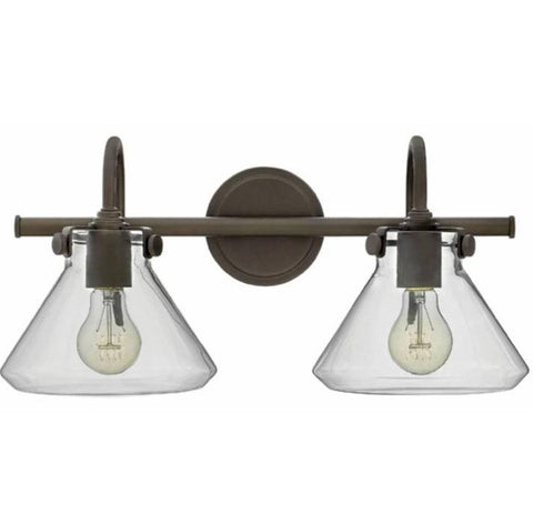 Congress 2 Light Retro Vanity in Oil Rubbed Bronze with Clear Glass Shades by Hinkley Lighting 50026OZ