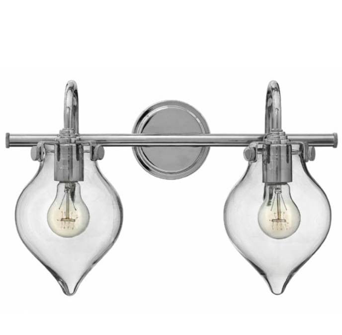 Congress 2 Light Teardrop Vanity in Chrome with Clear Glass Shades by Hinkley Lighting 50027CM
