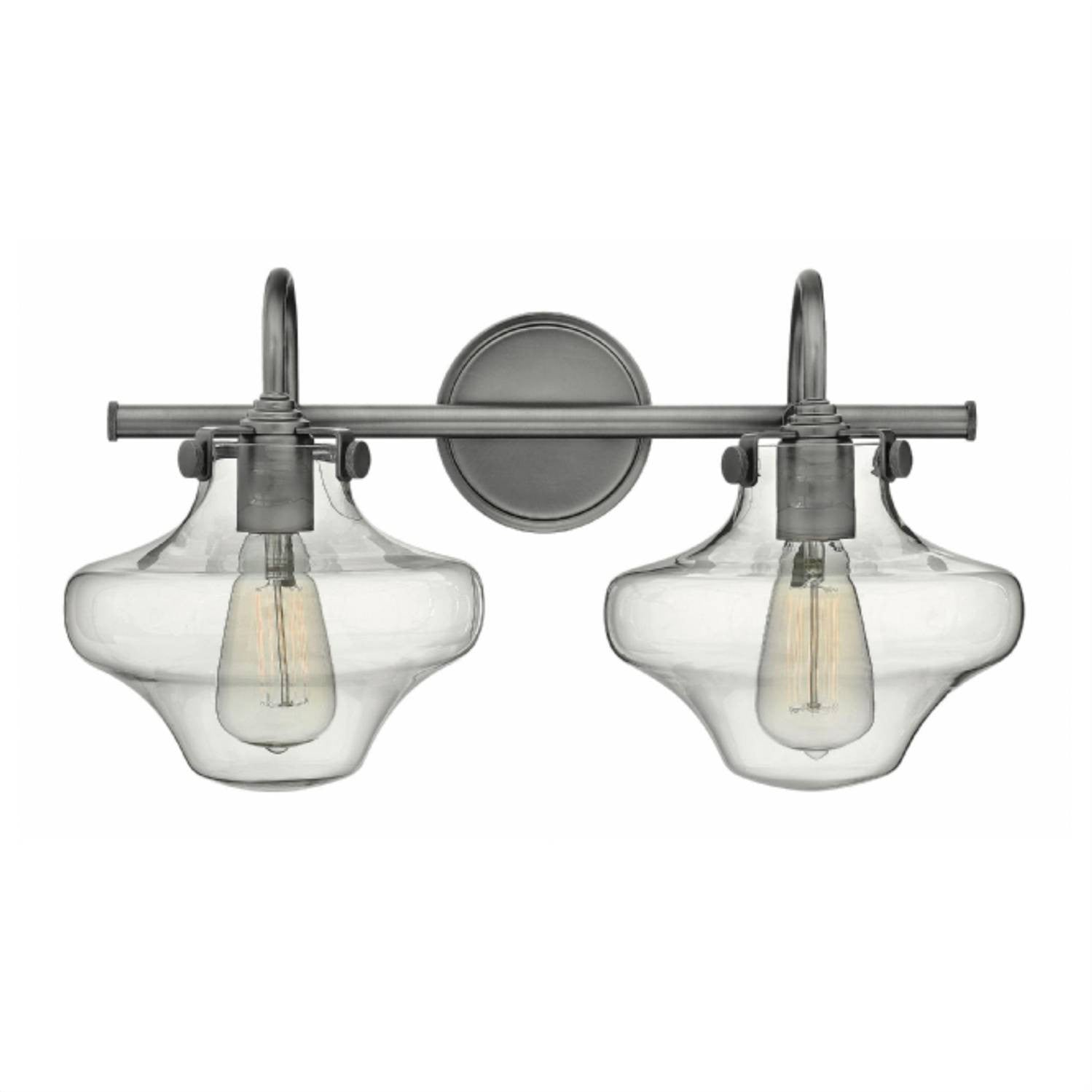 Congress 2 Light Hurricane Vanity in Antique Nickel with Clear Glass Shades by Hinkley Lighting 50021AN