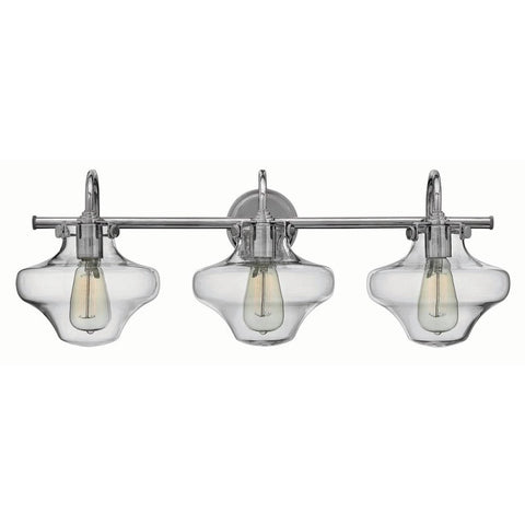 Congress 3 Light Hurricane Vanity in Chrome with Clear Glass Shades by Hinkley Lighting 50031CM