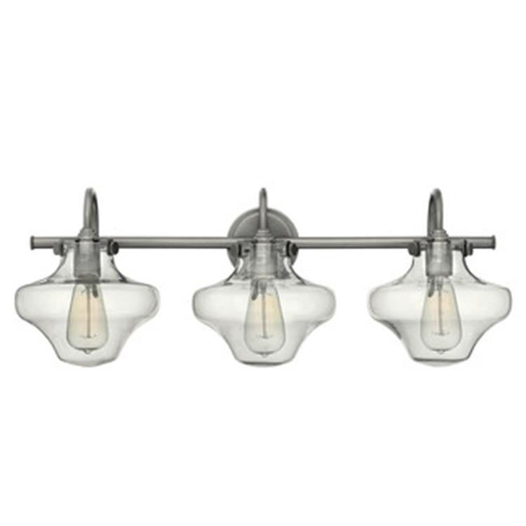 Congress 3 Light Hurricane Vanity in Antique Nickel with Clear Glass Shades by Hinkley Lighting 50031AN