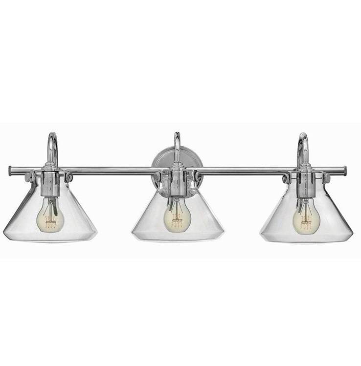 Congress 3 Light Retro Vanity in Chrome with Clear Glass Shades by Hinkley Lighting 50036CM