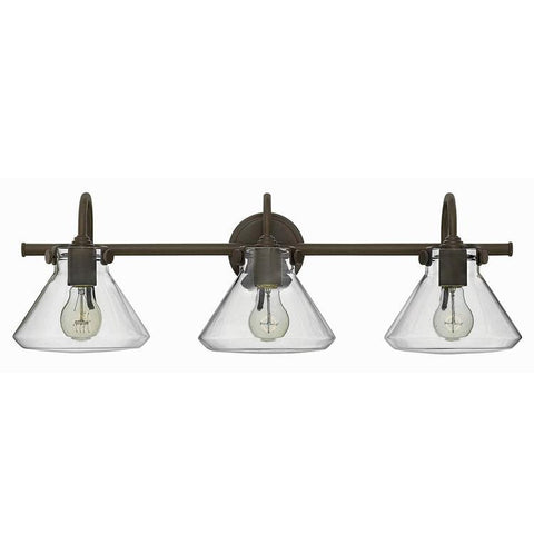 Congress 3 Light Retro Vanity in Oil Rubbed Bronze with Clear Glass Shades by Hinkley Lighting 50036OZ