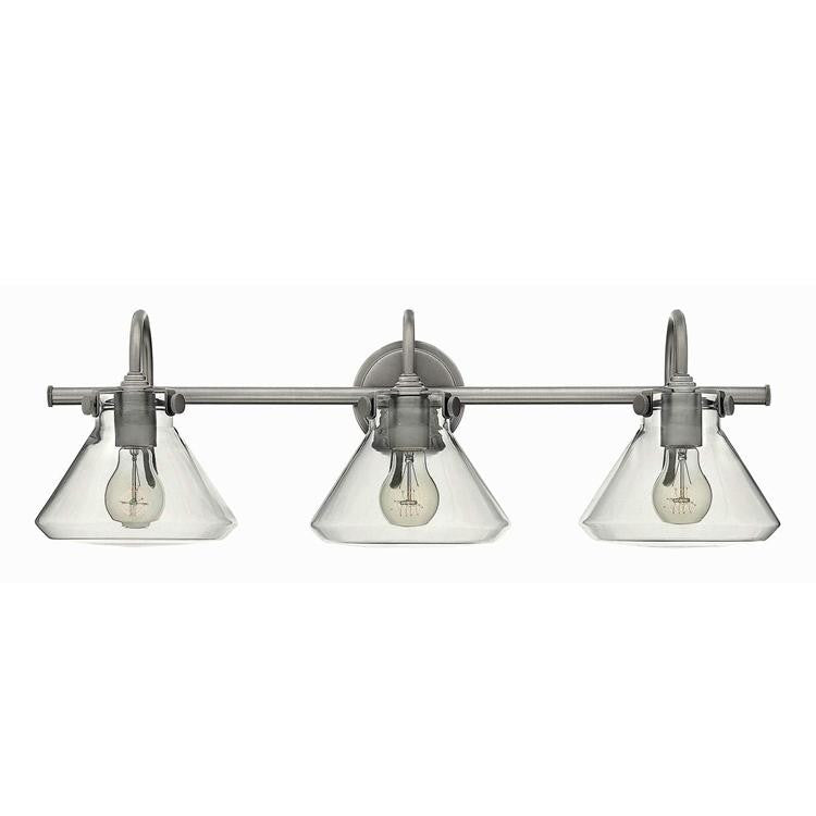 Congress 3 Light Retro Vanity in Antique Nickel with Clear Glass Shades by Hinkley Lighting 50036AN