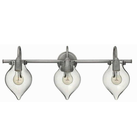 Congress 3 Light Teardrop Vanity in Antique Silver with Clear Glass Shades by Hinkley Lighting 50037AN