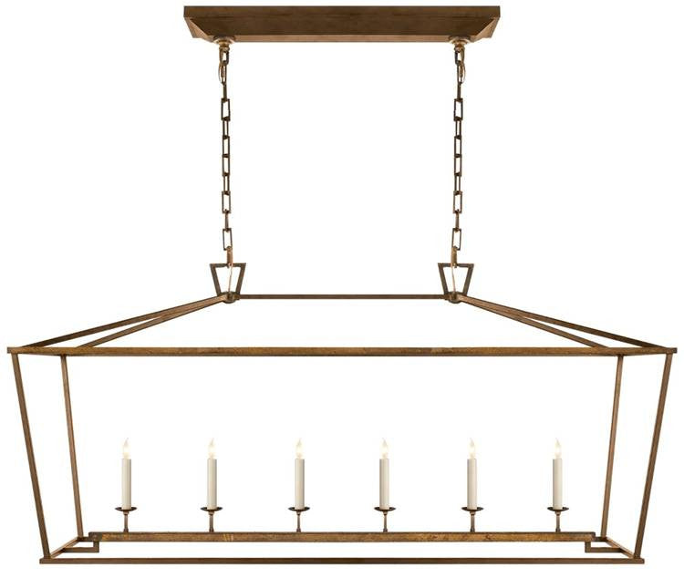 Darlana 6 Light Linear Pendant in Gilded Iron by Visual Comfort CHC2166GI