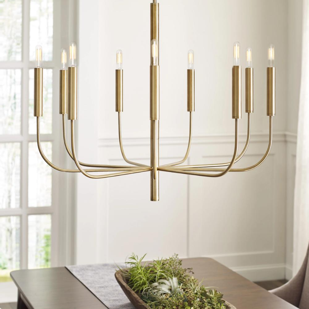 Lifestyle Shot of Fenella Chandelier, 9-Light Chandelier, Burnished Brass