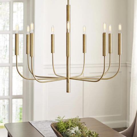 Lifestyle Shot of Brianna Chandelier, 9-Light Chandelier, Burnished Brass