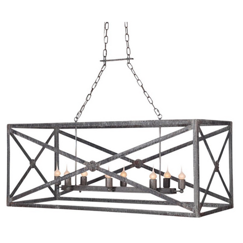 Ella Home Large Medallion Linear Chandelier in distressed grey Deep Ocean CH21L-DO