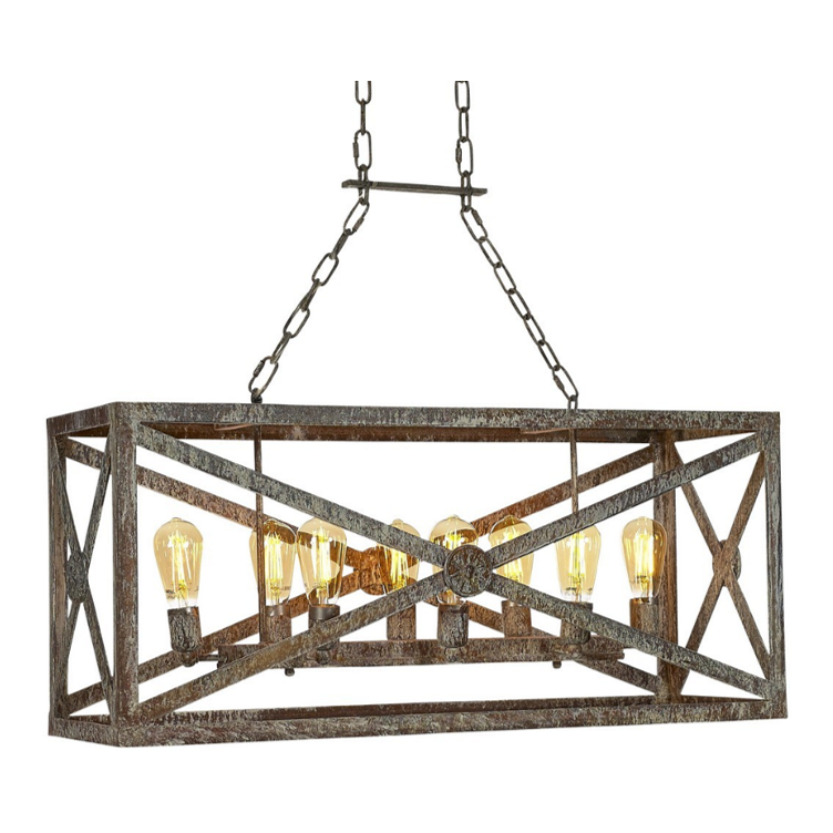 Ella Home Small Medallion Linear Chandelier in distressed grey Deep Ocean CH21S-DO