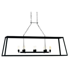 Ella Home Matte Antique Black Open Cage Vegas Linear Chandelier CH54
