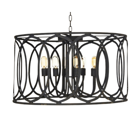 Ella Home Large New Orleans Pendant in matte Antique Black PD09