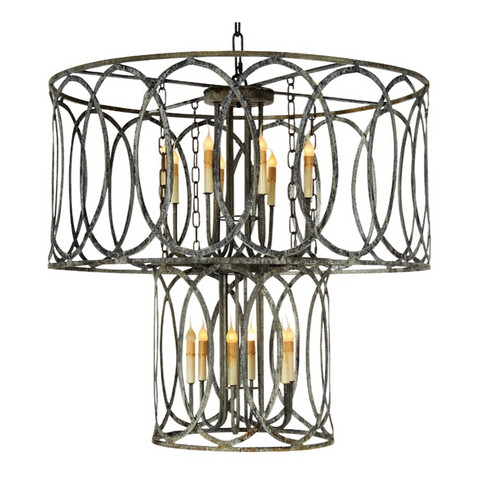Ella Home Two Tiered New Orleans Pendant Chandelier in grey Deep Ocean PD11