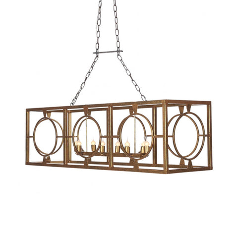 Ella Home Gilded Gold Open Cage Hampshire Linear Chandelier CH59