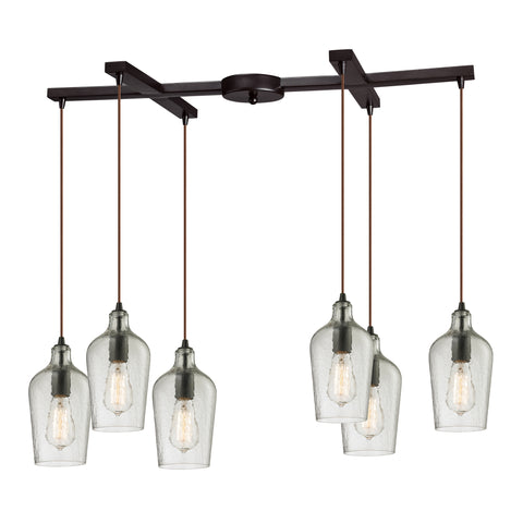 Hammered Multi Light Linear Chandelier by Elk Lighting ( EK-10331/6CLR) | Lighting Connection