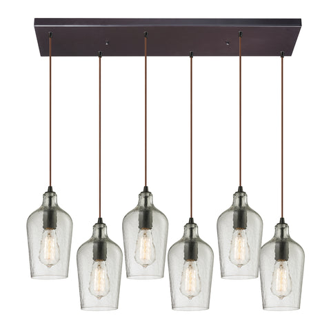 Hammered Multi Light Linear Chandelier by Elk Lighting ( EK-10331/6RC-CLR) | Lighting Connection