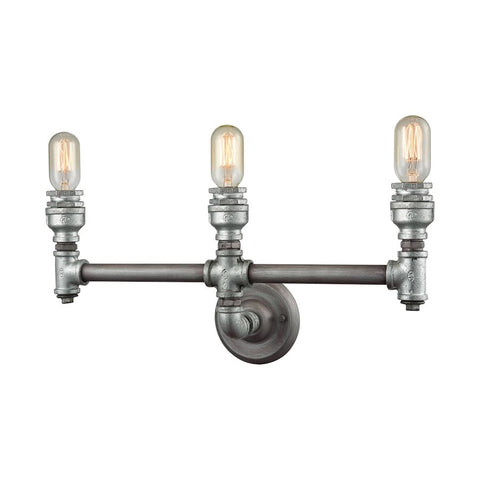 Cast Iron Pipe 3 Light Vanity in Weathered Zinc by Elk Lighting 10684/3