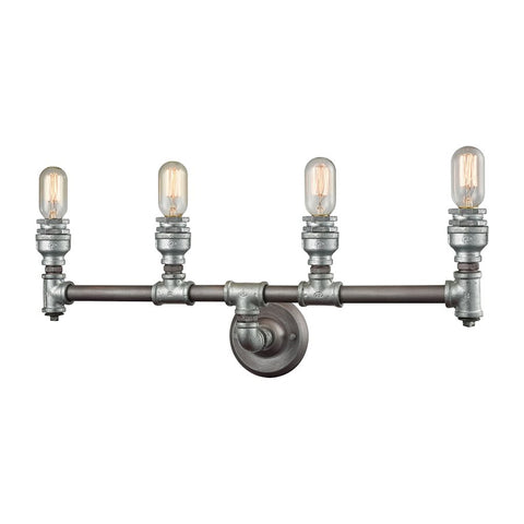 Cast Iron Pipe 4 Light Vanity in Weathered Zinc by Elk Lighting 10685/4