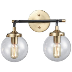 Boudreaux 2 Light Vanity in Matte Black and Antique Gold with Clear Glass Shades by Elk Lighting 14427/2