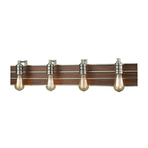 Brookweiler 4 Light Industrial Metal + Wood Vanity in Polished Nickel by Elk Lighting 16432/4