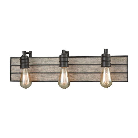Brookweiler 3 Light Metal and Wood Industrial Vanity in Oil Rubbed Bronze by Elk Lighting 16441/3