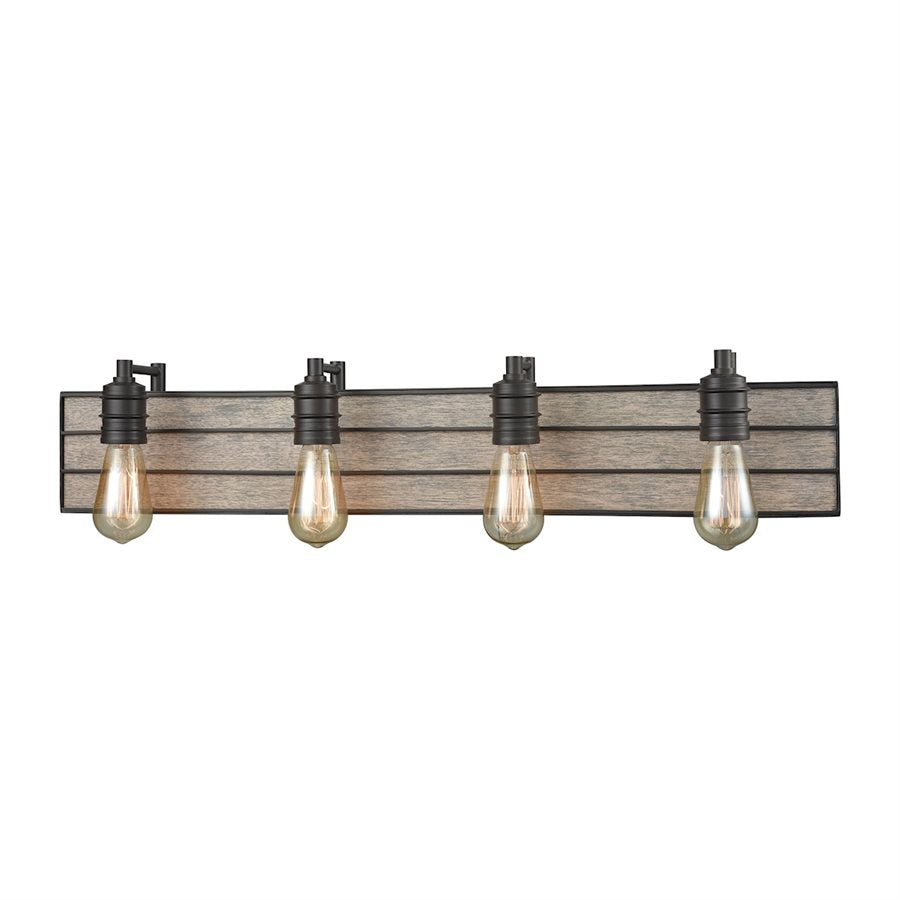 Brookweiler 4 Light Industrial Metal + Wood Vanity in Oil Rubbed Bronze by Elk Lighting 16442/4