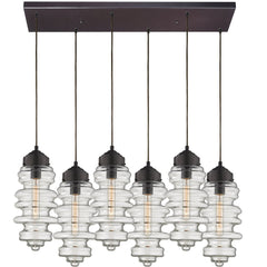 Cipher Multi Light Linear Chandelier in Oil Rubbed Bronze by Elk Lighting (EK-17205/6RC) | Lighting Connection