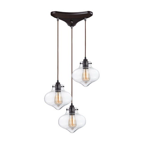 Kelsey Pendant in Oil Rubbed Bronze/ Clear Glass by Elk Lighting (EK-31954/3) | Lighting Connection
