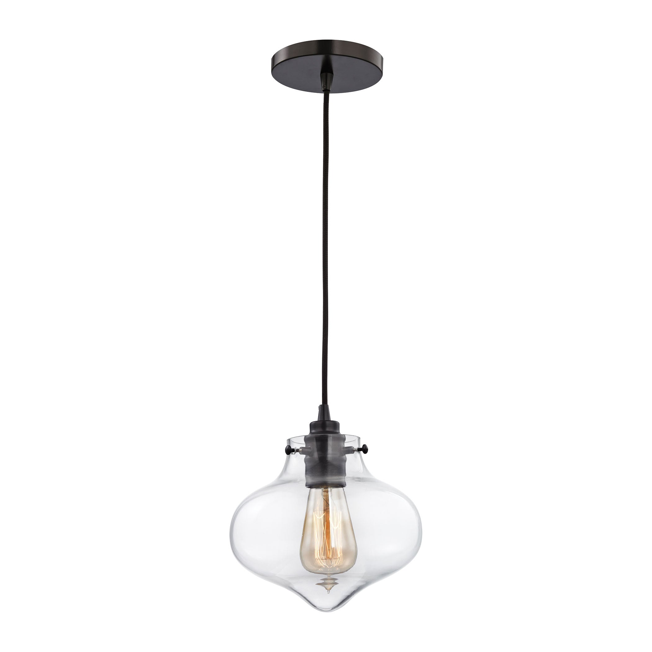 Kelsey Pendant in Oil Rubbed Bronze/ Clear Glass by Elk Lighting (EK-31954/1) | Lighting Connection