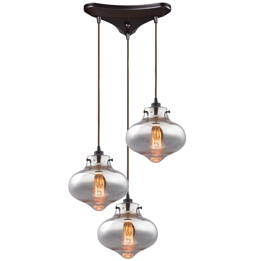 Kelsey Pendant in Oile Rubbed Bronze/ Mercury Glass by Elk Lighting (EK-31955/3) | Lighting Connection
