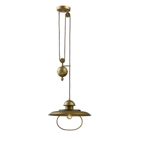 Farmhouse  1 Light Pulley Pendant in Antique Brass by Elk Lighting 65051-1