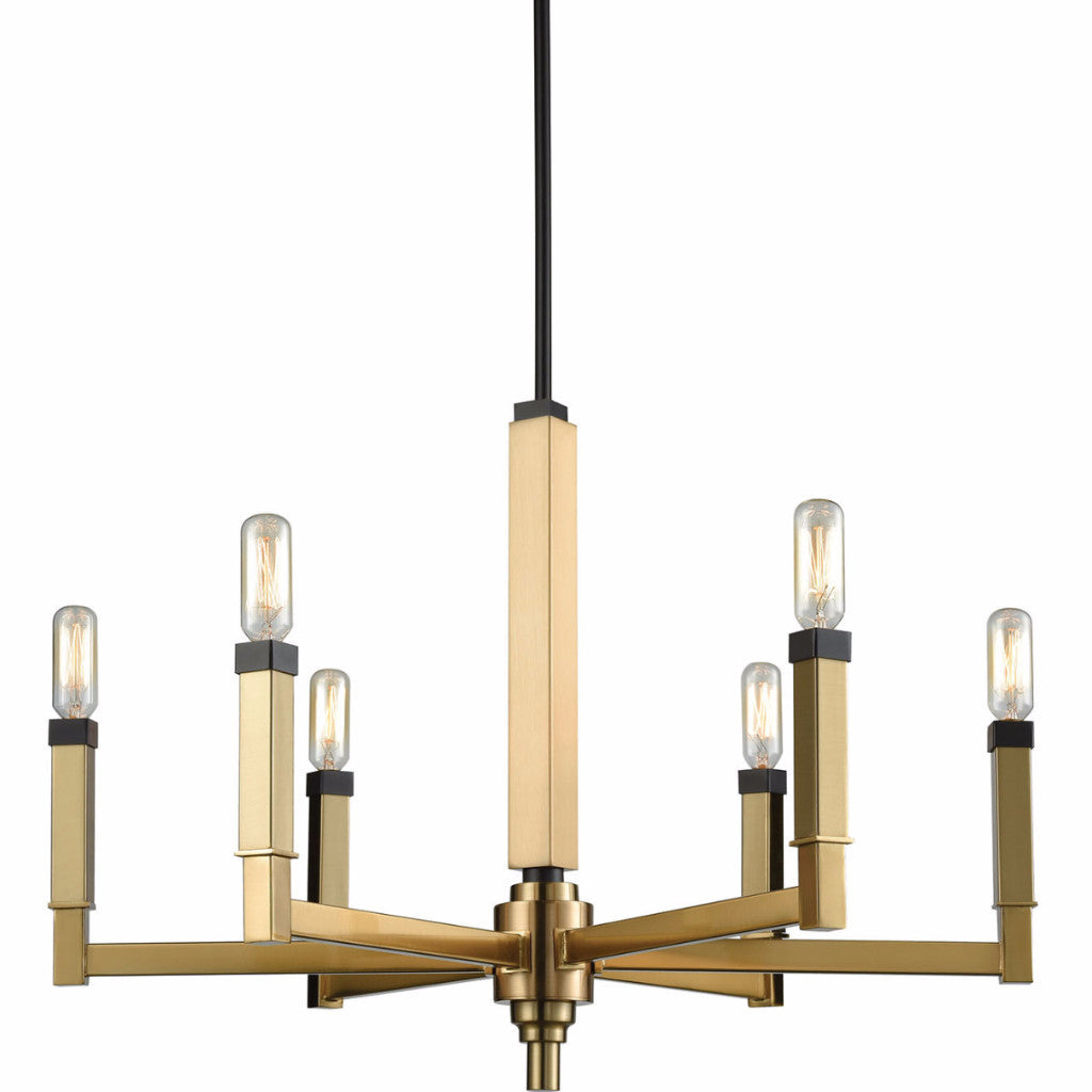 Small Mandeville Chandelier by Elk Lighting in Satin Brass and Oil Rubbed Bronze 67757/6