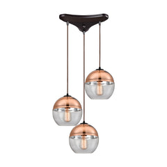 Revelo 3 Light Pendant in Oil Rubbed Bronze by Elk Lighting, 10490/3