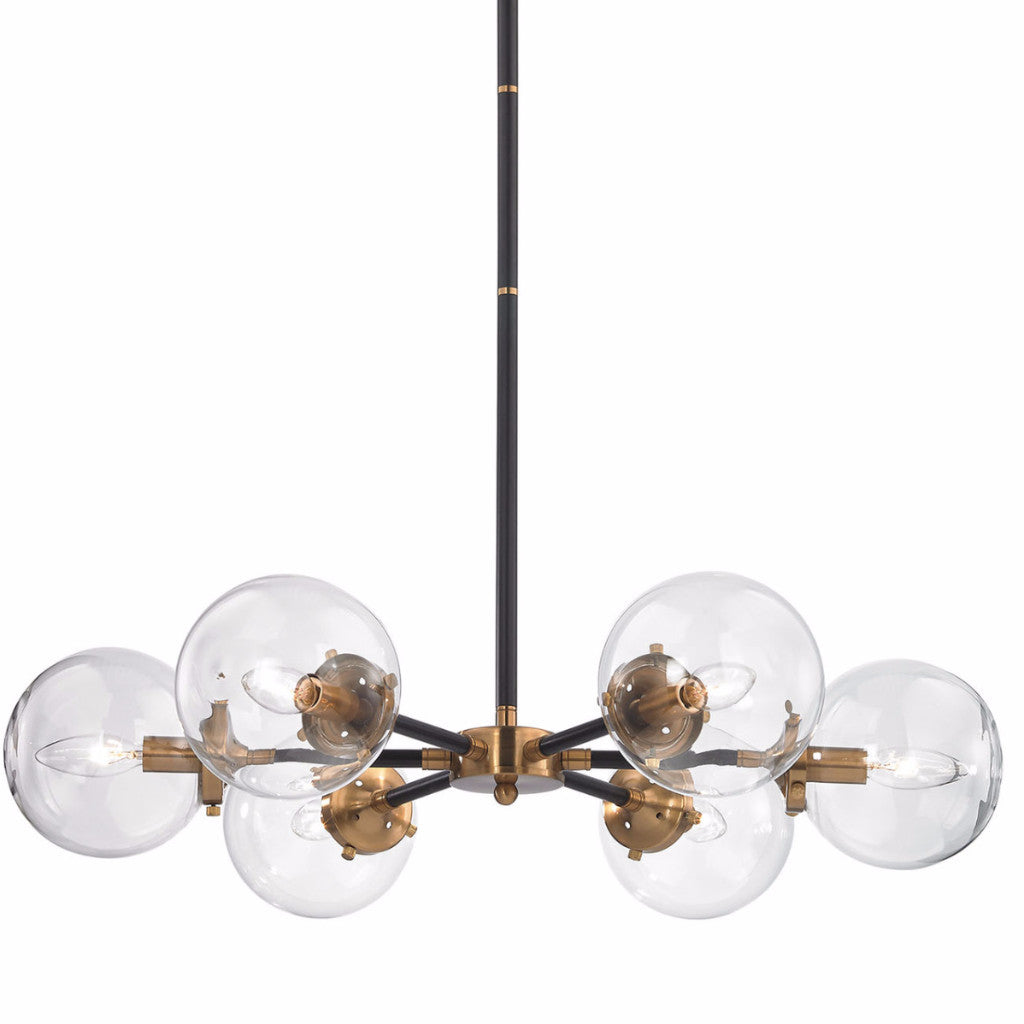 Mid-Century Modern 6 Light Nyx Chandelier in Matte Black and Antique Gold with Clear Glass Globe Shades