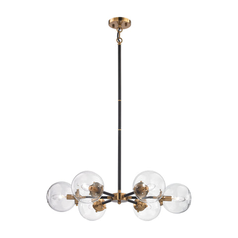 Mid-Century Modern 6 Light Boudreaux Chandelier in Matte Black and Antique Gold with Clear Glass Globe Shades 14432/6