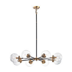 Mid-Century Modern 8 Light Boudreaux Chandelier in Matte Black and Antique Gold with Clear Glass Globe Shades 14433/8