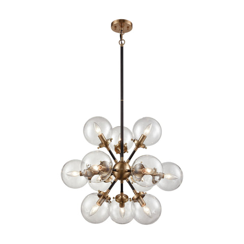 Mid-Century Modern 12 Light Nyx Chandelier in Matte Black and Antique Gold with Clear Glass Globe Shades