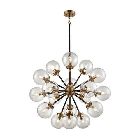 Mid-Century Modern 18 Light Nyx Chandelier in Matte Black and Antique Gold with Clear Glass Globe Shades