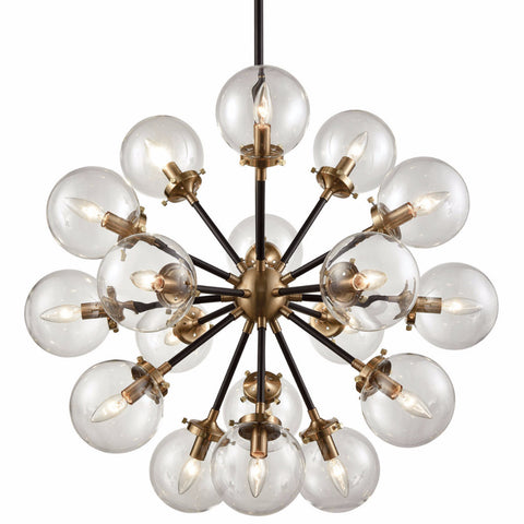 Mid Century Modern 18 Light Boudreaux Chandelier In Matte Black And Antique Gold With Clear