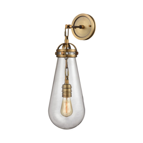 gramercy industrial wall sconce in aged brass with clear modern teardrop glass shade by elk lighting